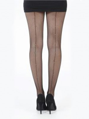 Fishnet Seamed Tights With Diamonds