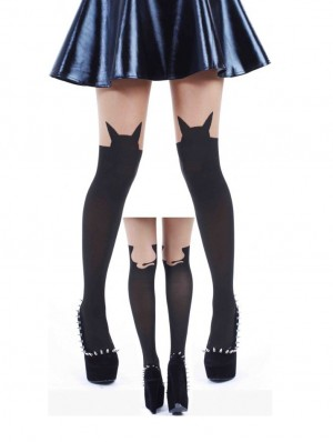 Cat Outline Opaque Tights