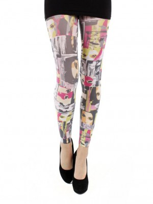 Retro Faces Footless Tights