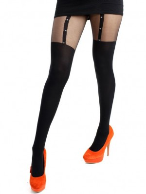Plain Stripe Suspender Tights-Black Large Silver Studs