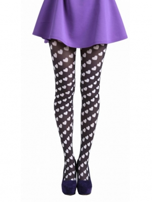 Candy Hearts Printed Tights