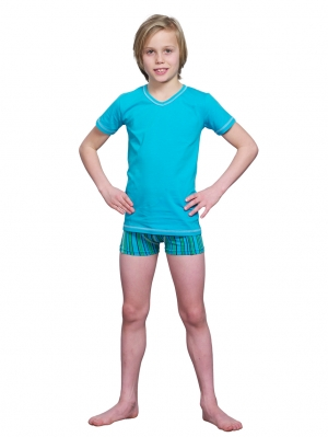 Boys T-shirt V-neck Blue