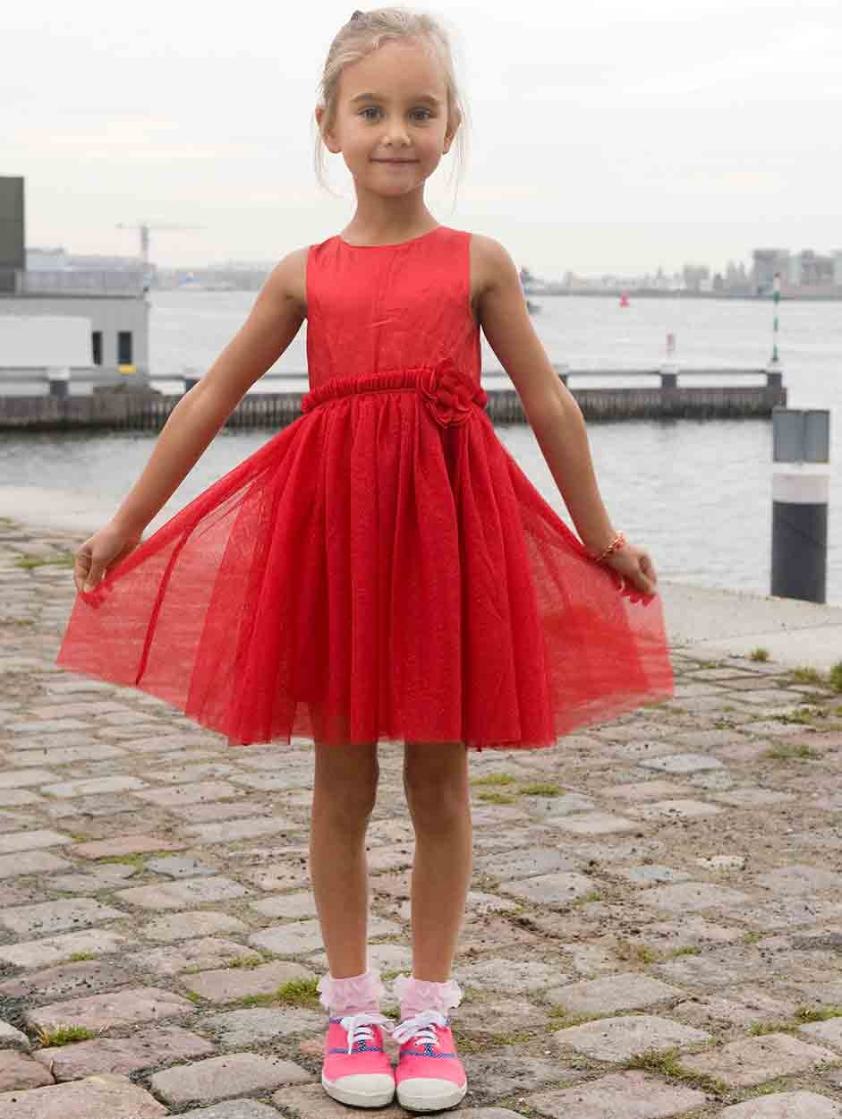 Ruffled Organza Skirt With Embroidered And Beaded Bodice: Kindersokken - BN64.31.28