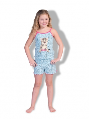 Girls Jumpsuit Short Leopard Cat