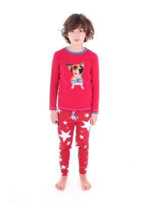 Boys Baggy Pyjama Music Jack Red Star