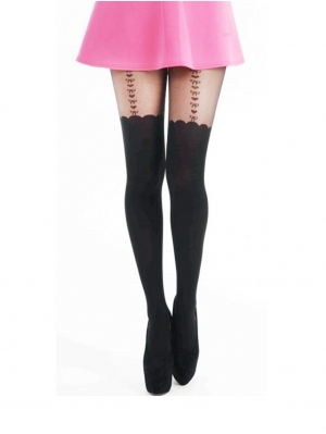 Heart and Bows Suspender Tights