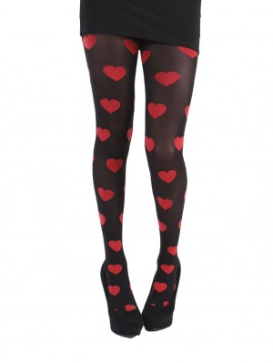 Large Heart Opaque Tights