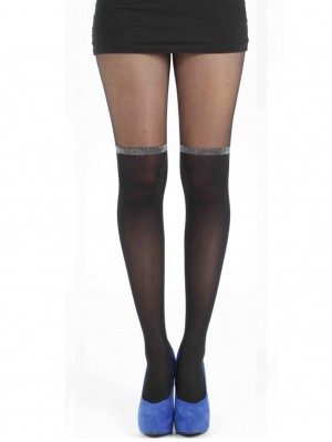 Glitter Band Over The Knee Tights