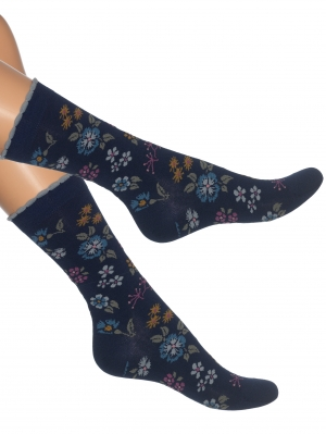 Embroidered Flowers Women Sock