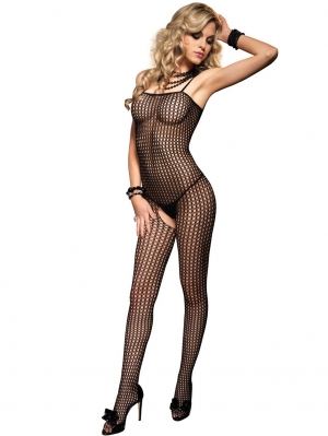 Crochet Net Spaghetti Strap Bodystocking