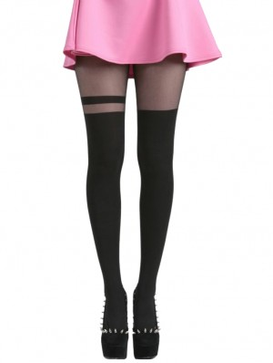 Over Knee Stripe Tights-Black