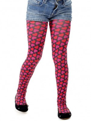 Childrens Candy Hearts Printed Tights-Pink