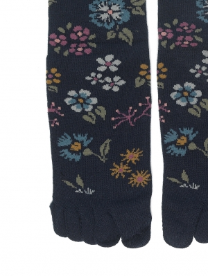 Embroidered Flowers Toe Sock