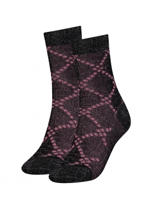 Argyle Lurex Socks