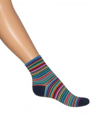 Multi Stripe Quarter Sock