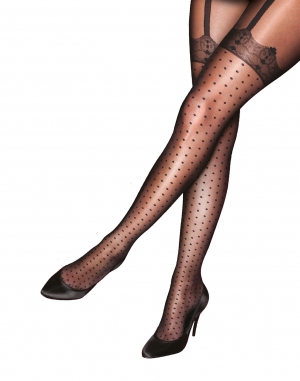 Mock Spot & Lace Tights