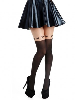 Large Heart Over Knee Tights