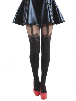 Net Bow Suspender Tights