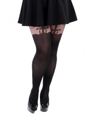 Solid Bow Suspender Tights