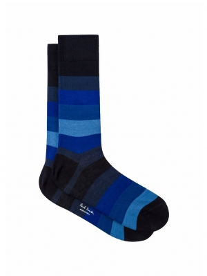 Navy and Blue Tonal Stripe Sock