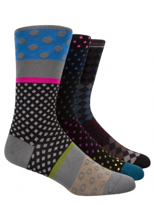 3-Pack Polkadots & Diamond Socks