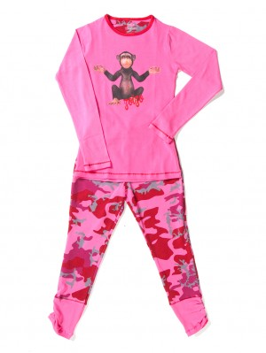 Girls Baggy Pyjama Pink Army