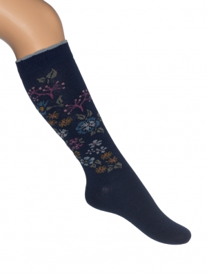 Embroidered Flowers Knee-high