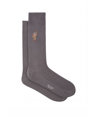 Embroidered Monkey Motif Socks