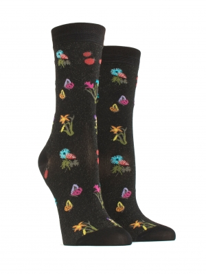 Pappillon Flowers and Coccinals Sock