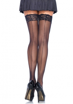 Lace Top Stockings With Backseam