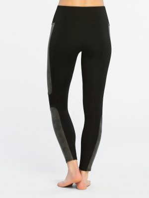 Structured Panel Leather Ponte Leggings
